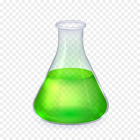 Realistische glas laboratorium fles met groene vloeistof geïsoleerde vector illustratie