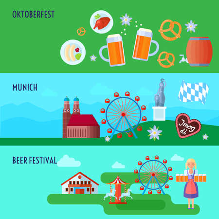 bavarian girl: Set of flat horizontal German Oktoberfest beer festival icons banners Munich and Bavaria vector illustration