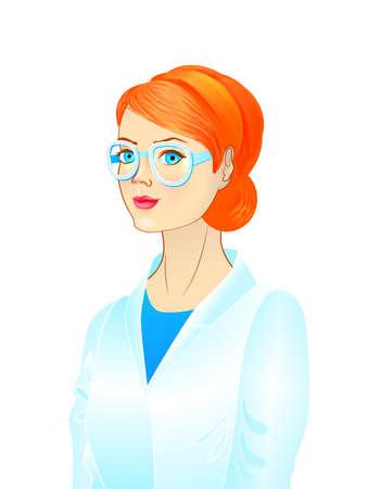 Portret van een vrouwelijke wetenschapper, jonge vrouw draagt een bril, vrouwelijke arts