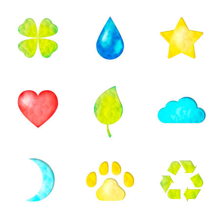 papaer: Set of nature symbols icon: clover, waterdrop, star, heart, green leaf, cloud, moon, paw, recycling sign