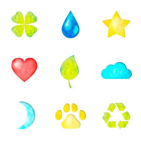 Set van de natuur symbolen pictogram: klaver, waterdrop, ster, hart, groen blad, wolk, maan, poot, recycling teken Stock Illustratie