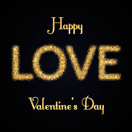 love gold: Happy Valentines Day greeting card - love gold glitter letters
