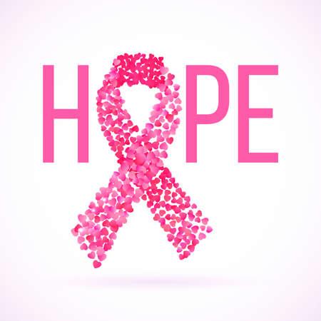 Hoop bericht geschreven in roze met kanker voorlichting lint Stock Illustratie