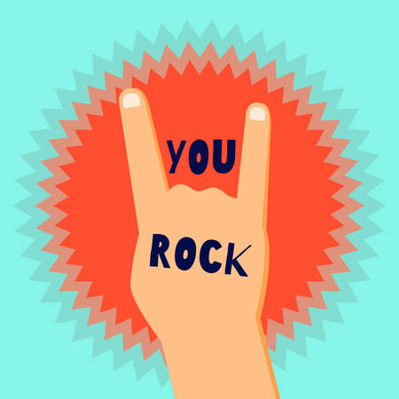 You rock flat design poster template with a devils horns sign