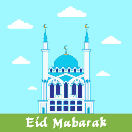 Eid Mubarak wenskaart  Witte moskee op de blauwe en groene achtergrond design template