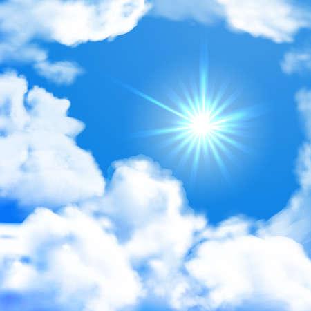 Vector heldere hemel whit zon en wolken. Zomer achtergrond