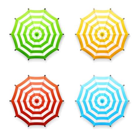 Set van vector gestreepte strand of op de markt paraplu's in levendige kleuren: rood, blauw, geel en groen