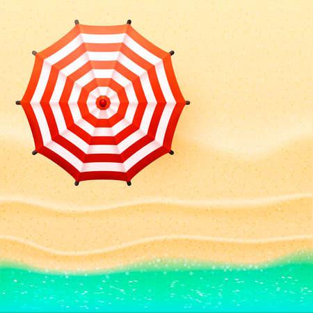 Strand bovenaanzicht parasol en zee, zee vector illustratie Stock Illustratie