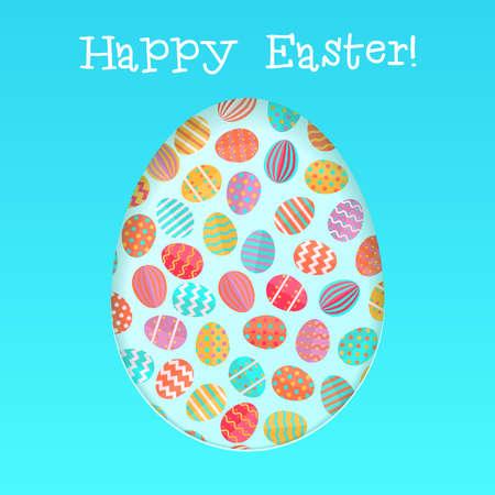 Happy Easter card template met kleurrijke eieren patroon