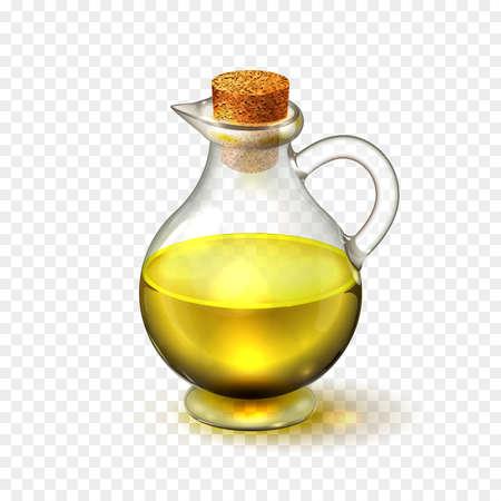 Realistische glazen fles van olijf- of zonnebloemolie met een corck geïsoleerd op een transparante achtergrond. vector illustratie Stock Illustratie