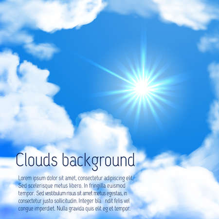 Vector bright sky whit sun and clouds. Summer background Illustration