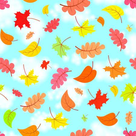 Dalende bladeren over de blauwe hemel, kleurrijke naadloze patroon, vectorillustratie Stock Illustratie