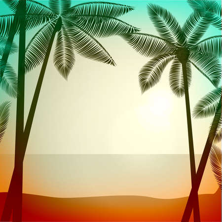 effect sunset: Vector summer poster background with photographic filter effect. Tropical sunrise  sunset with palm trees. Vector illustration