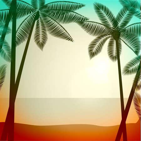 Vector zomer poster achtergrond met fotografische filter effect. Tropische zonsopgang  zonsondergang met palmbomen. vector illustratie