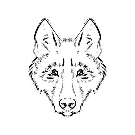 Grungy zwart-witte wolf hoofd illustratie