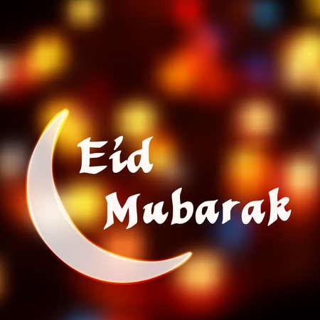 Maansikkel glanzende kleurrijke achtergrond. Moslimgemeenschap festival Eid Mubarak viering, kaart sjabloon