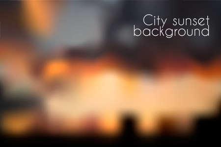 Bokeh effect wazig zonsondergang achtergrond. Avond cityscape vector illustratie
