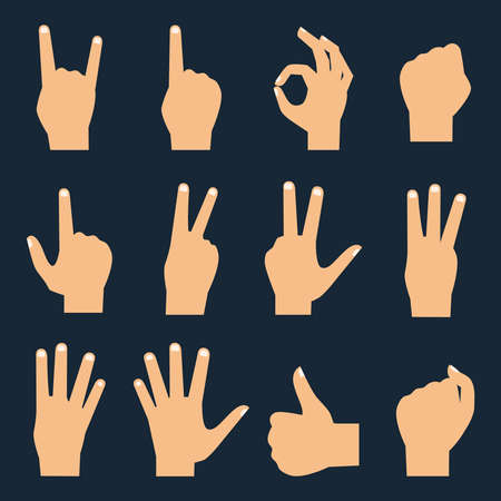 okay: Hands vector flat icons set: finger counting, fist, devil horns, okay gesture, victory sign