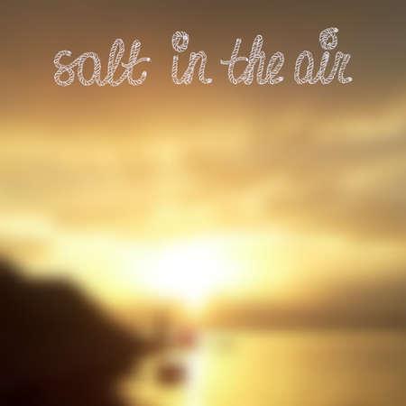 Seashore zonsondergang vector vage achtergrond. Zout in de lucht