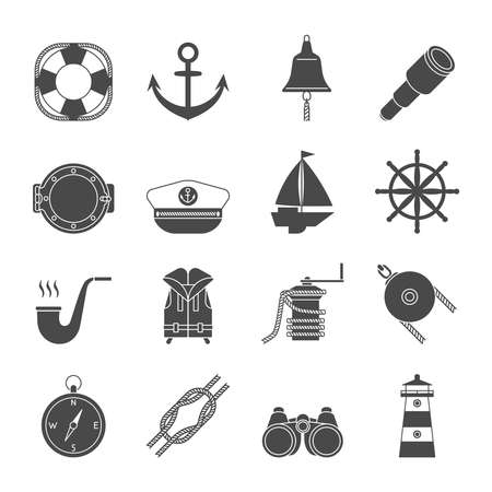 yachting: Black and white yachting simple  icons set