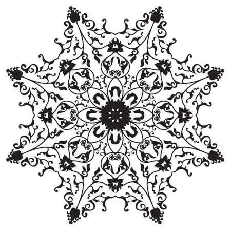 Traditionele oosterse ronde ornament mandala, sneeuwvlok, abstarct bloemenontwerp Stock Illustratie