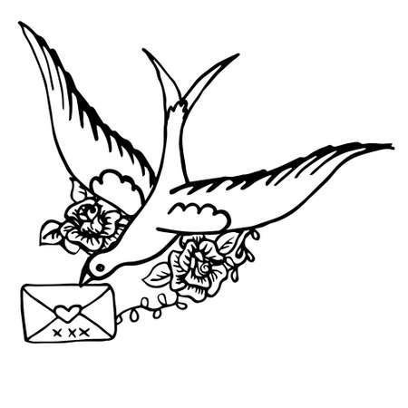 Vogel met een brief. Hand getekende schets oud school klassiek tattoo ontwerp