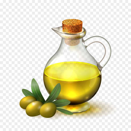 decanter: Olive oil in a glass bottle with handle and corck and olives with green leaves, realistic vector illustration on transparent background