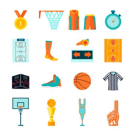 Set van basketbal pictogrammen, bal, rechter, hoepel, ventilator en scheidsrechter apparatuur, kleding en apparaten Stock Illustratie