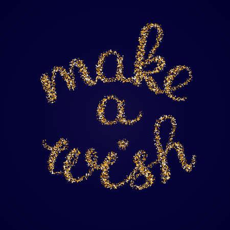 Maak een wens - gouden glitter hand belettering kaartsjabloon