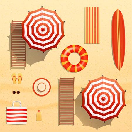 Realistische vectorobjecten illustratie, parasols, surfplank, handdoek, ligstoel, zwemmen ring, zonnebril en andere strand-apparatuur