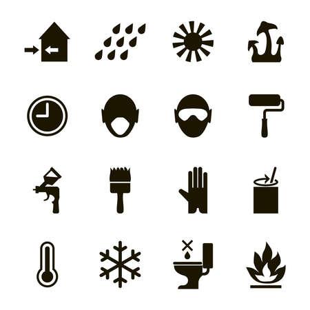 Verf- of emaille functies en veiligheidspictogrammen stellen -gebruiks-, gezondheids-, veiligheids- en milieu-informatie in Stock Illustratie