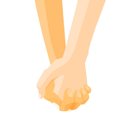 Hands of a couple holding hands design template,  vector illustration, male and female palms