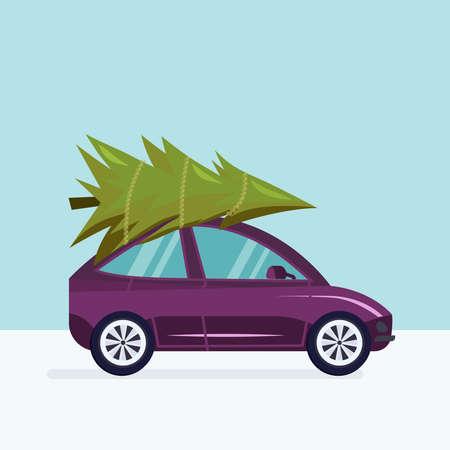 Vectorillustratie van een auto die een Kerstboom in een sneeuw de winterlandschap levert