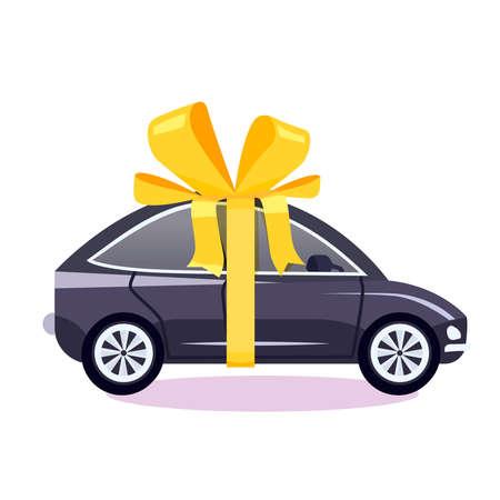 Auto als een geschenk met een boog vectorillustratie Stock Illustratie