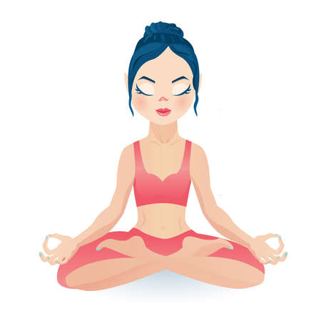 Het mediteren van de zitting van het yogameisje in lotusbloem stelt het dragen van gewassenbovenkant met gesloten ogen