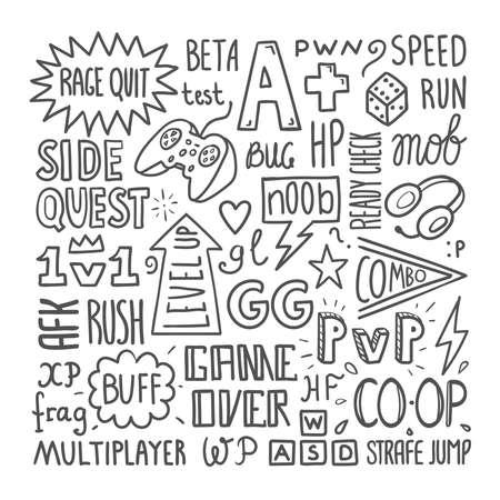 Video gaming slang lettering poster template, hand drawn vector illustration