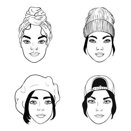 black and white portraits of girls with different headpieces, fashion vector illustration: turban, baseball cap, barrette, beanie Stock Illustratie