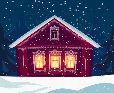 Russian wooden village house in winter, snowfall in the rural countryside illustration Stock Illustratie