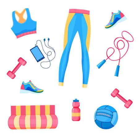 illustration of female fitness equipment flat lay: dumbbells, med ball, leggings,  bra, rope, smartphone  with headphones, sneakers, mat, sportswear Stock Illustratie