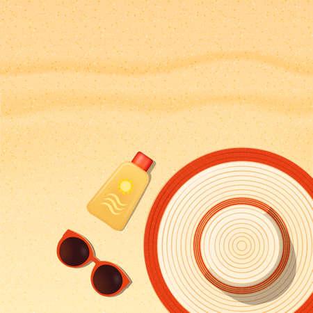 Sun protection items laying on sand beach, sunscreen, sunglasses and hat realistic vector illustartion Ilustração Vetorial