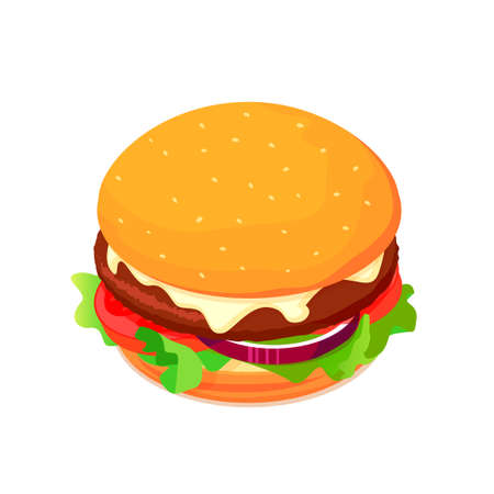 Isometric illustration of cheeseburger with tomato, salad and onion, American fast food illustration Stock Illustratie