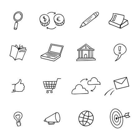 Sketchy Doodle Web network shop Computer Icon Set - Doodles Vector Illustration Design Elements o