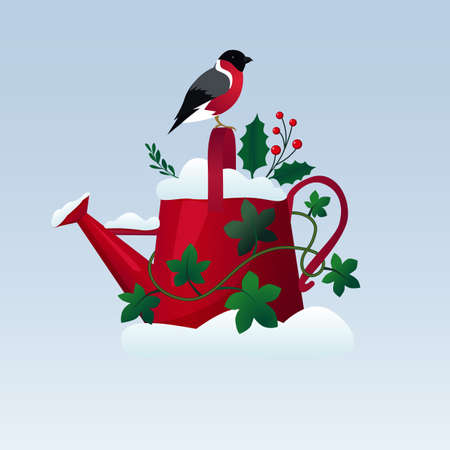 Old red watering can on in the snow with a bird sitting on it