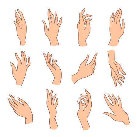 Set of minimalistic colored female hands art drawings symbols or signs
