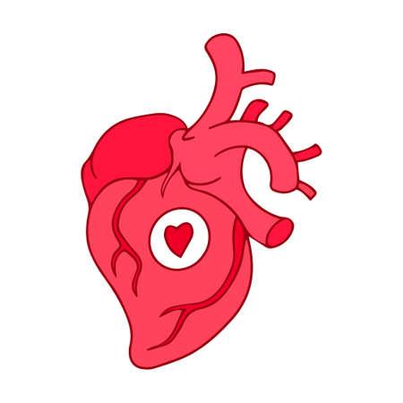Cartoon human heart symbol sign vector illustration