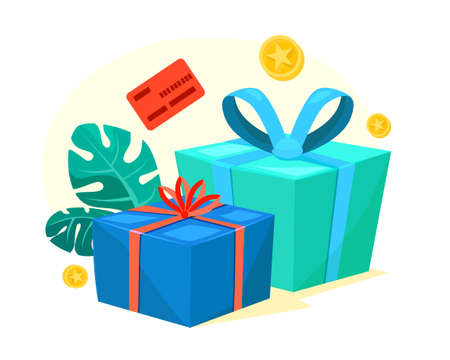 Green and blue gift boxes with red ribbon, bonus money, earn points, loyalty program, win prize, cash back for purchase, birthday present, cartoon vector icon Stock Illustratie