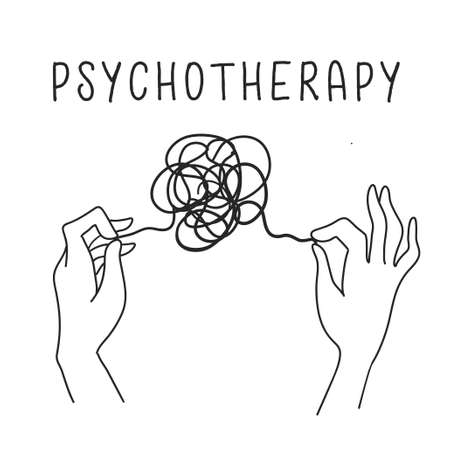 Psychotherapy concept, hands holding tangled thread. Icon in hand drawn outline style black and white