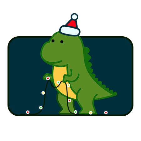 Tyrannosaurus Christmas Cute Card Template. Dinosaur in Santa hat decorates Christmas tree garland lights. Vector illustration of funny character in cartoon flat style. Ilustração