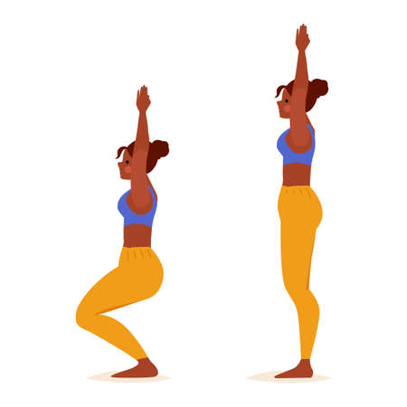 Young woman practicing Yoga. Standing Pose. Girl fitness, aerobic and exercises. Vector cartoon Illustration. Chair Pose