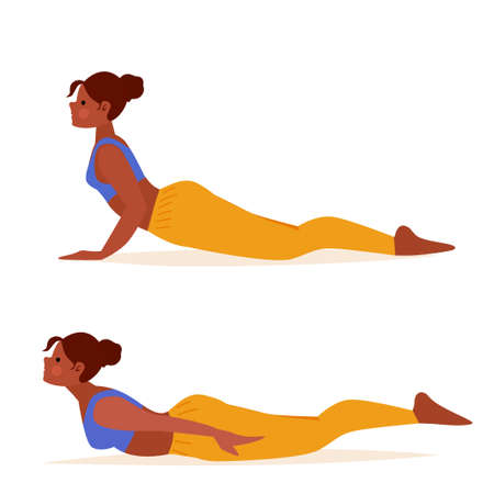 Beautiful yoga girl locust and cobra poses. Meditation practice. Sport, healthy lifestyle. Cartoon illustration of female person exercise, fitness workout.